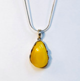 Sterling Silver, Amber, Baltic, Butter, Crystal, Semi-Precious, Pendant, Teardrop