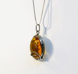 Sterling Silver, Amber, Honey, Clear, Spangled, Semi-Precious, Pendant, Oval, with Filigree