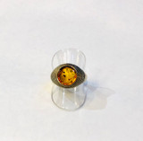 Sterling Silver, Honey, Baltic, Amber, Spangled, Ring, Large