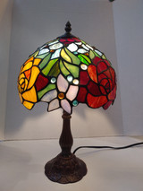 "Stained glass Tiffany style small table lamp - roses, 10"" diameter"