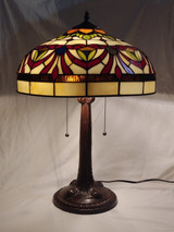 "Stained glass Tiffany style large table lamp - red sashes, 16"" diameter"
