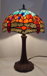 "Dragonfly Tiffany style medium stained glass table lamp - red and blue, 12"" diameter"