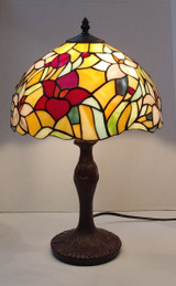 "Stained glass Tiffany style medium table lamp - floral, 12"" diameter"