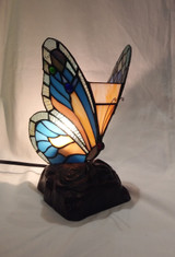 Tiffany style stained glass butterfly accent lamp - blue and orange
