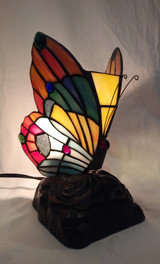 Tiffany style stained glass butterfly accent lamp - yellow, green and orange