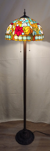 Tiffany style stained glass floor lamp - floral