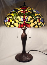 "Stained glass Tiffany style large table lamp - floral, 16"" diameter"