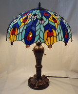 Tiffany style stained glass large table lamp - peacock feathers