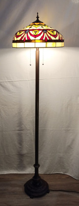 Tiffany style stained glass floor lamp - red sashes