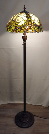 Tiffany style stained glass floor lamp - antique green