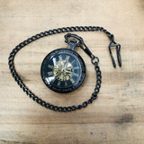 Vintage Style, Wind Up, Manual, and Battery Run, Pocket Watch, with Chain, Steampunk