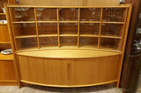 Mid-Century,Teak, breakfront, sideboard, hutch, tambour doors, Glass Doors, Wood drawers, Christian Linneberg, Denmark