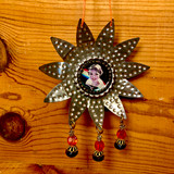 Vintage Style, Christmas,  Hand Made, Metal Reflector, Ornament, Xmas, Rhinestones, Tree, Swarovski Beads, Bottle Cap, Retro
