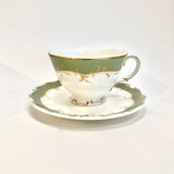 Royal Doulton, Fontainbleu, H 4987, Vintage, England, Green, Grey, Gold, Tea Cup, Cup, Saucer, Cup and Saucer, Fine, bone, China, Steampunk