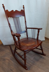 Wood rocking chair, tooled leather seat