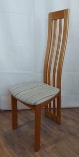 Set of 10 teak chairs, high back, beige seats