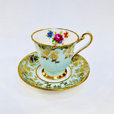 Paragon, Light Blue, Gold, Demitasse, Cup, Saucer, Cup and Saucer, Vintage, Fine Bone China, England, Double Warrant,