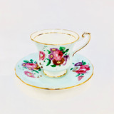 Paragon, Light Blue, Floral, Demitasse, Cup, Saucer, Cup and Saucer, Vintage, Fine Bone China, England, Double Warrant,