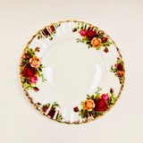 Royal Albert, Old Country Roses, Plate, Salad, Dessert, Vintage, Red, Roses, England,  Steampunk