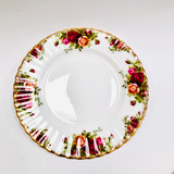 Royal Albert, Old Country Roses, Plate, Dessert, Salad, Vintage, Red, Roses, England,  Steampunk