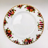 Royal Albert, Old Country Roses, Plate, Dinner, Vintage, Red, Roses, England,  Steampunk