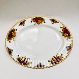 "Royal Albert, Old Country Roses, Oval, Platter, Tray, 13"", Serving, Vintage, Red, Roses, England,  Steampunk"