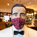 Face Mask, Mask, Textile, Cream Coloured Paisley Pattern, on Burgundy, Double layer, 100% Cotton, Fabric