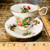 Royal Grafton, Thistle, Tartan, Cup, Saucer, Footed, Fine Bone China, Vintage, Steampunk