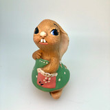 Pendelfin, Figurine, Lucy Pocket, Green, Dress, Rabbit, Bunny, Ceramic, Stonecraft, Jean Walmsely Heap, Figurine, Vintage, Burnley, England