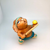 Pendelfin, Figurine, Tennyson, Dark Green, (RARE), Turquoise, Tennis Racquet, Serve, , Rabbit, Bunny, Ceramic, Stonecraft, Jean Walmsely Heap, Figurine, Vintage, Burnley, England