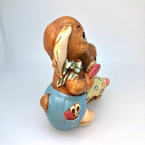 Pendelfin, Figurine,  Dandy, Barber, Brushing Hair, Two Rabbits, Stonecraft, Ceramic Rabbit, Bunny, Ceramic, Stonecraft, Jean Walmsely Heap, Figurine, Vintage, Burnley, England