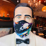 Face Mask, The Planets, EXTRA LARGE, Mask, Textile, Flat, Unpleated, Triple layer, 100% Cotton, Fabric