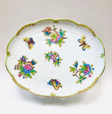 Herend, Hand Painted, Victoria Pattern, Platter, Tray, Scalloped, Vintage, Ceramic, Porcelain, Butterflies, Flowers