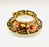 Royal Crown Derby, Traditional Imari Pattern, Cup and Saucer, Blue, Red, Gold, Porcelain, 1911/1912, Antique