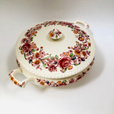 Two Handled Vintage Covered Vegetable Bowl, Johnson Bros, Windsor Ware, Floral, Old-Fashioned, Johnson Brothers