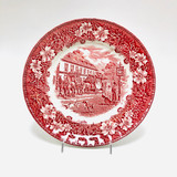 """Royal Tudorware, Dinner Plate, 8.75"""" Wide, Red, Pink, Vintage, Horses, Tavern, Coach, Old-fashioned"""
