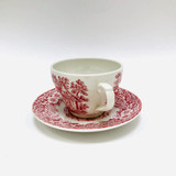 The Constable Series Bicentennial, 1776-1976, Tea Cup, Teacup, Cup and Saucer, J Broadhurst, Ironstone, Red Etched Old-Fashioned Rural Scene, United States Independence
