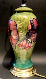 Moorcroft, Anemone, Lamp, Electric, Art Pottery, Ceramic, Table Lamp, Vintage, Floral, Made in England