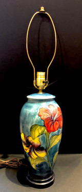 Moorcroft, Hibiscus, Lamp, Electric, Art Pottery, Ceramic, Table Lamp, Vintage, Floral, Made in England
