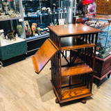 Revolving Bookcase, Oak, Antique, Vintage, with Book Stand
