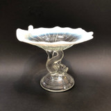 Northwood, Dolphin, Fish, Figural, Glass, Opalescent, Compote, Pedestal Tray, CallingCard, Card Holder