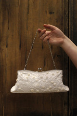 Reproduction White Beaded Clutch With Short Rocaille and Chenille Flowers