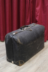 Vintage McBrine Black Leather Suitcase