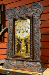 Antique, Pressed Wood, Gingerbread Clock, Clock, ~1900