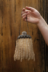 Art Deco, 1920s, Beaded, Glass Seed Beads, Vintage, Hand Bag, Handbag, Purse, Champagne Coloured