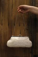 Non-vintage White Floral Clutch Hand Beaded Sequinned in Vintage Style.