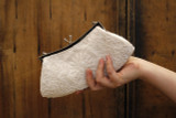 White Hand Beaded Sequinned Small Clutch Vintage Style.