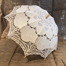 Beige/Ecru Lace Parasol Umbrella Old-Fashioned