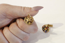 Multi Coloured Rhinestone  Gold Plated Round Cuff Links, Vintage