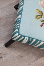 Small Blue Teal Footstool with Needlepoint Cushion